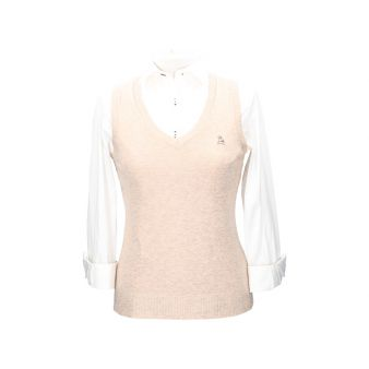 Beige sleeveless pullover