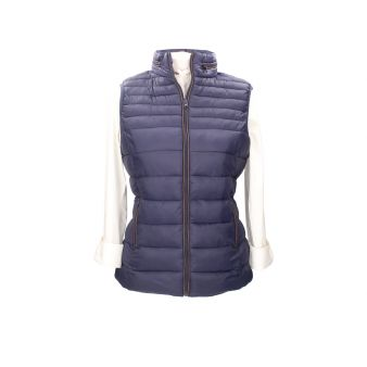 Navy padded sleeveless...