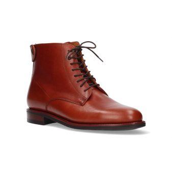 Short bronze rear zipper boot
