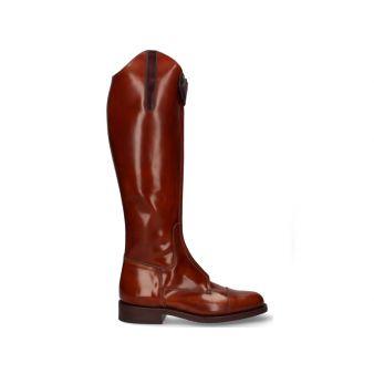 Brown front zipper riding boot