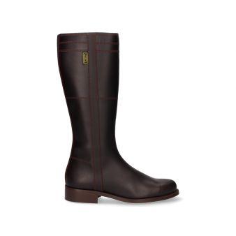 Plain chestnut zip-up boot