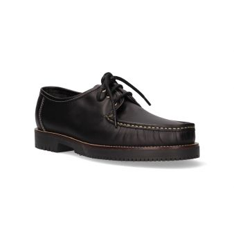 Black lace-up moccasin
