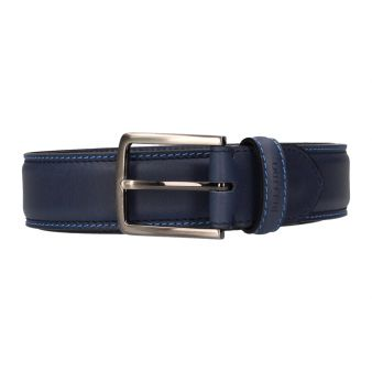 Cinturón azul pespuntes