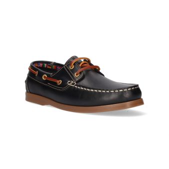 Navy blue laced deck shoe