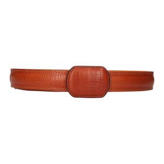 Cinturón grabado marrón claro