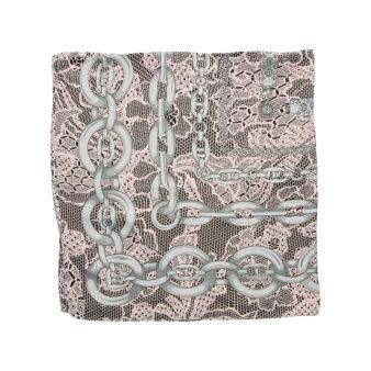 Pañuelo rosa cadenas grises