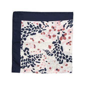 Pañuelo azul manchas rosas