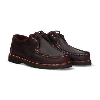 Burgundy lace-up moccasin