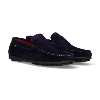 Navy suede moccasin with...