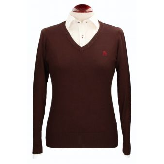 Brown V-neck pullover