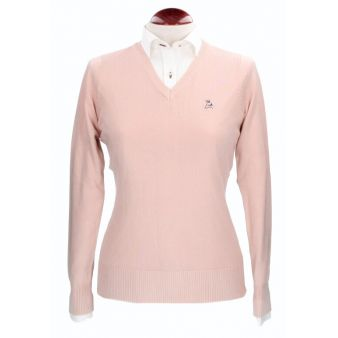 Flesh coloured V-neck pullover