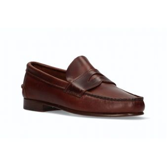 Brown moccasin with shoe mask