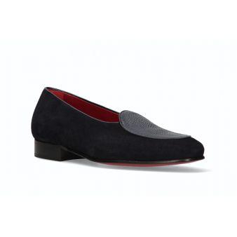 Navy suede loafer