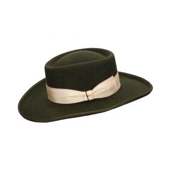 Khaki woollen gambler hat