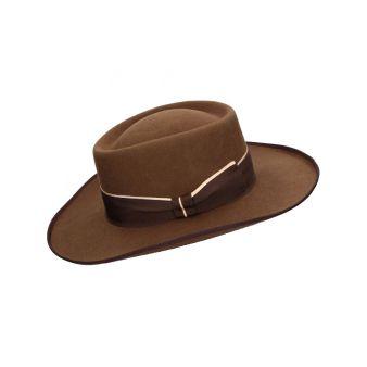 Tan colour woollen gambler hat