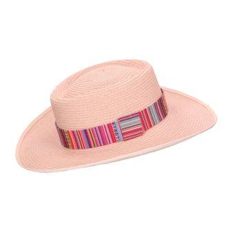 Sombrero fibra rosa cinta...