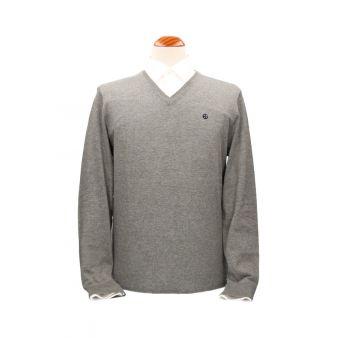 Jersey cuello pico gris medio