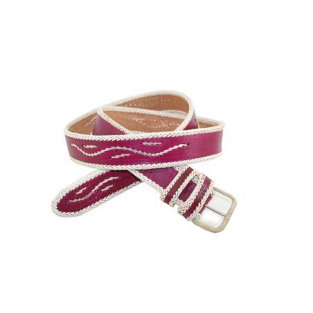 Cinturon rojo con filo blanco