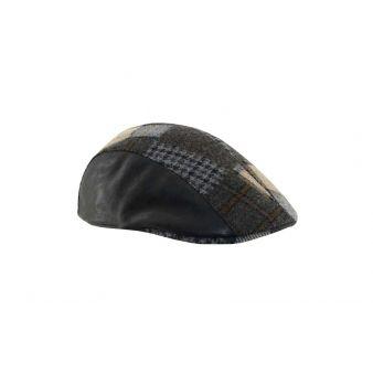 Gorra campera combinada piel negra parcheada negra