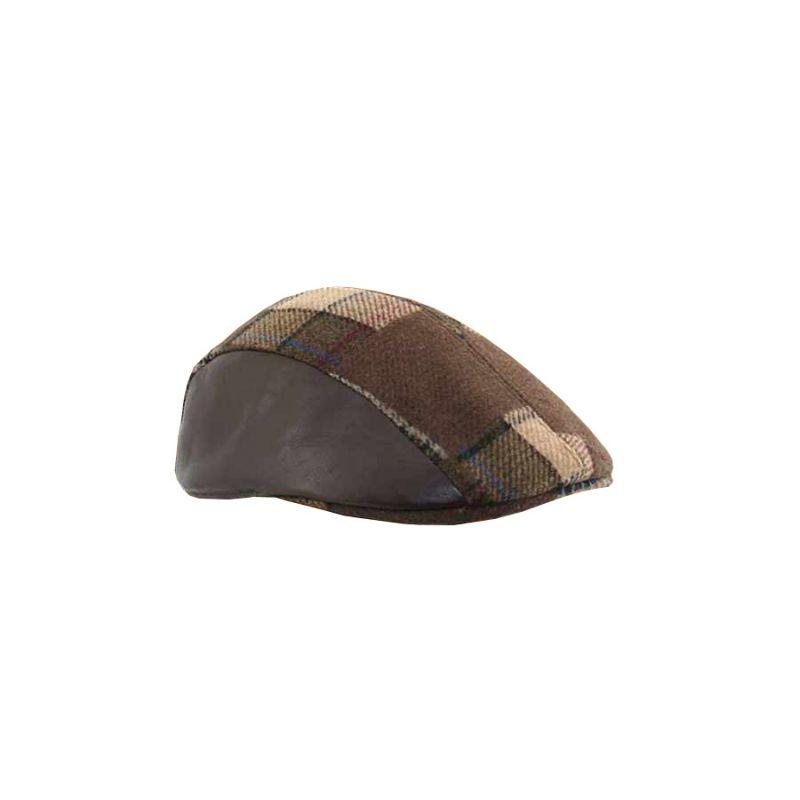 Gorra campera combinada piel negra parcheada marron