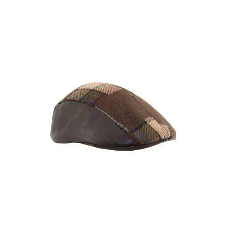 Gorra campera combinada piel marron