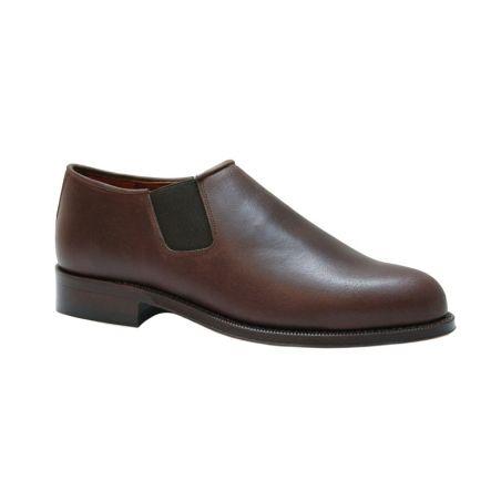 Zapato con elásticos para polaina ternera oscura