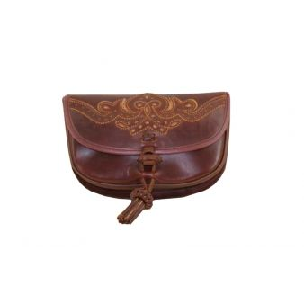 Leather pilgrimage pouch in...