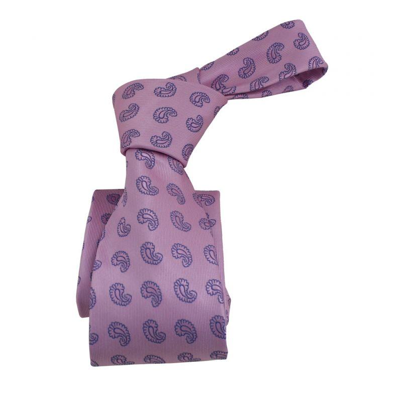 Corbata rosa cachemir azul