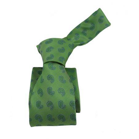 Corbata verde con cachemir azul