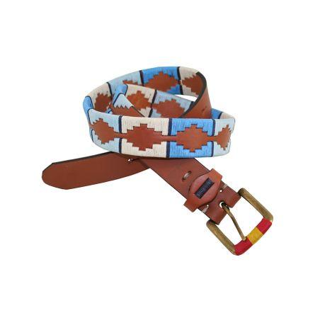 Cinturón cuero bordado celeste-beig-azul