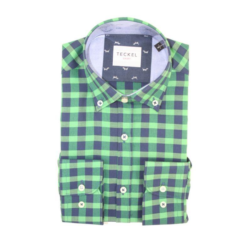 Camisa teckel cuadros verde y azul