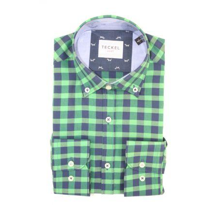 Camisa teckel cuadros verdes y marino