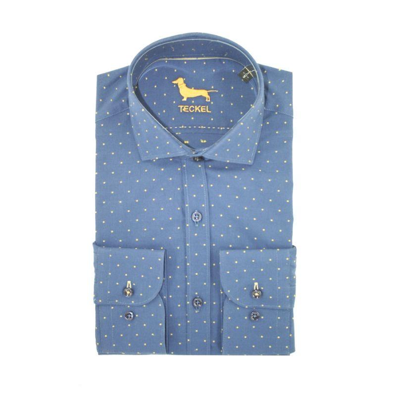 Camisa teckel azul topos amarillos