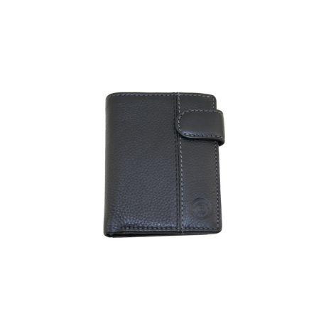 Monedero y billetero piel negro con cierre de boton