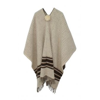 Ecru poncho with brown stripes