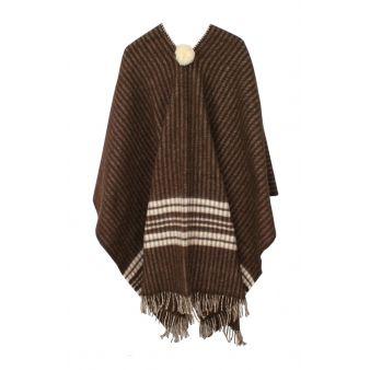 Poncho marrón con rayas crudos