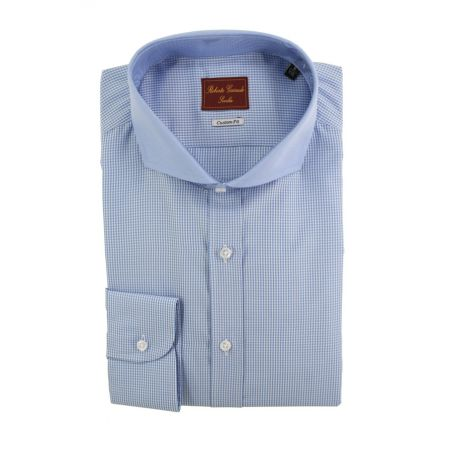 Camisa cuadritos vichy celeste