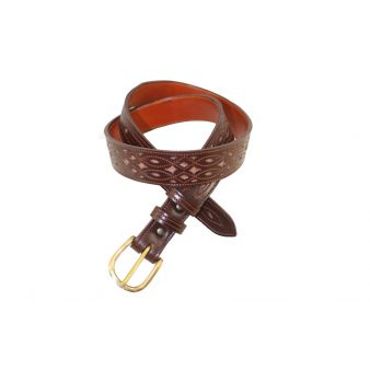 Cinturon artesano ternera con fondo oscuro