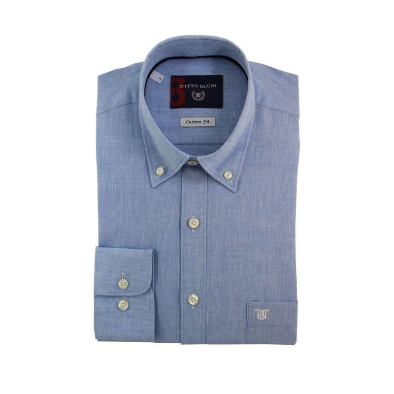Camisa lino celeste