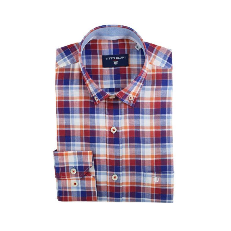Camisa Lino cuadros multinaranja