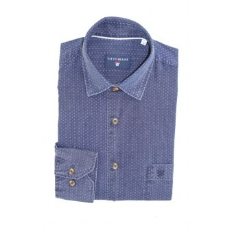 Camisa azul marino cuadros pequeños celestes
