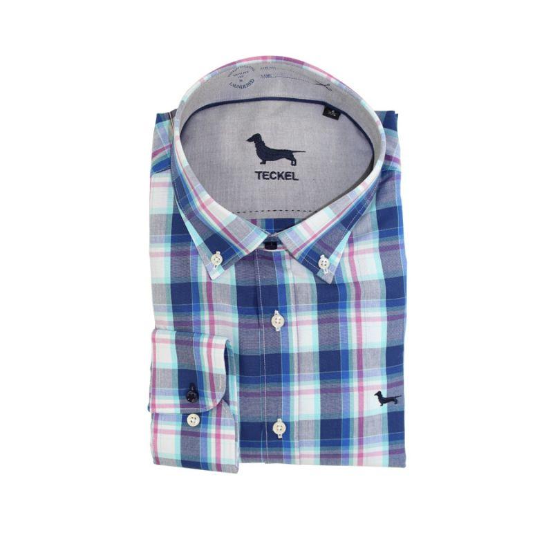 Camisa cuadros azul con lineas lilas
