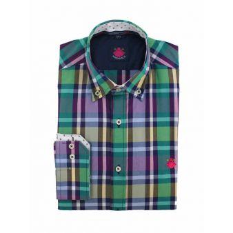 Camisa cuadros verde-morado-amarillo