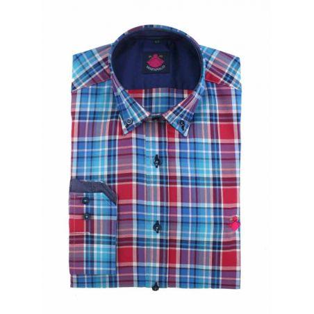 Camisa cuadros azul-fucsia