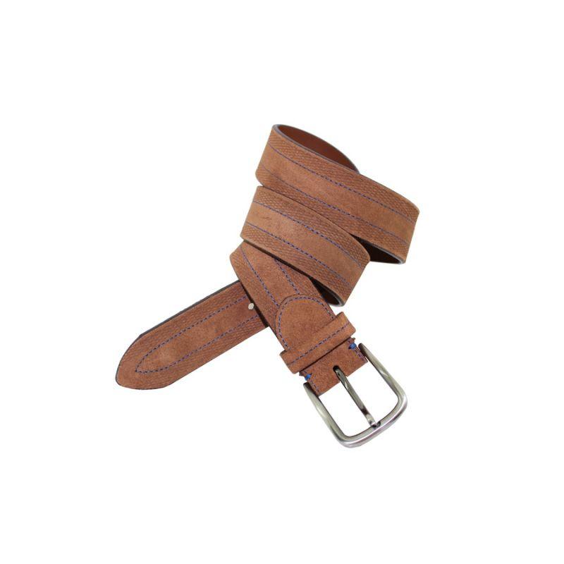 Cinturón pespunte marrón