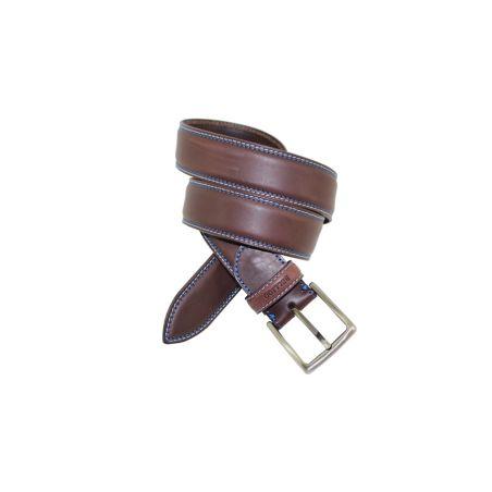 Cinturón pespuntes contrastado marrón