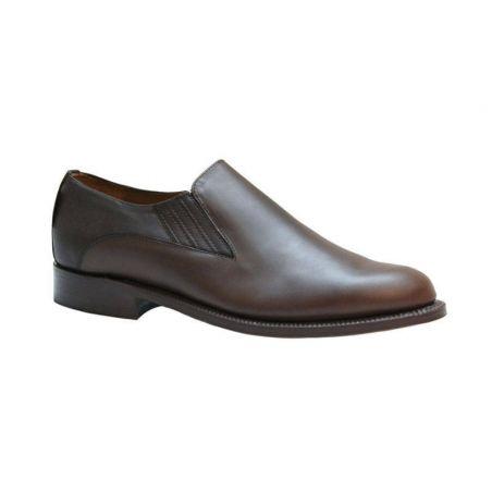 Zapato con elásticos para polaina ternera tabaco