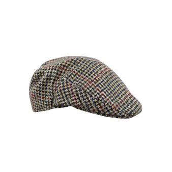 Grey houndstooth country cap