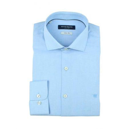 Camisa vestir cuadritos celeste