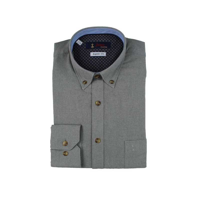 Camisa lisa gris cuello botón